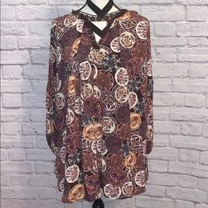 Umgee Floral Print Dress w/ Crochet Accent